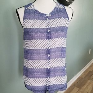 American Eagle Button Up Blue and white Tank Top